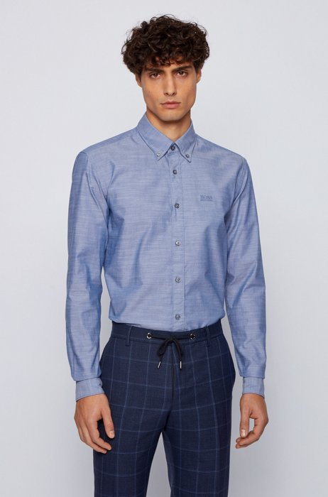 Slim-fit shirt in stretch cotton with logo embroidery, Light Blue