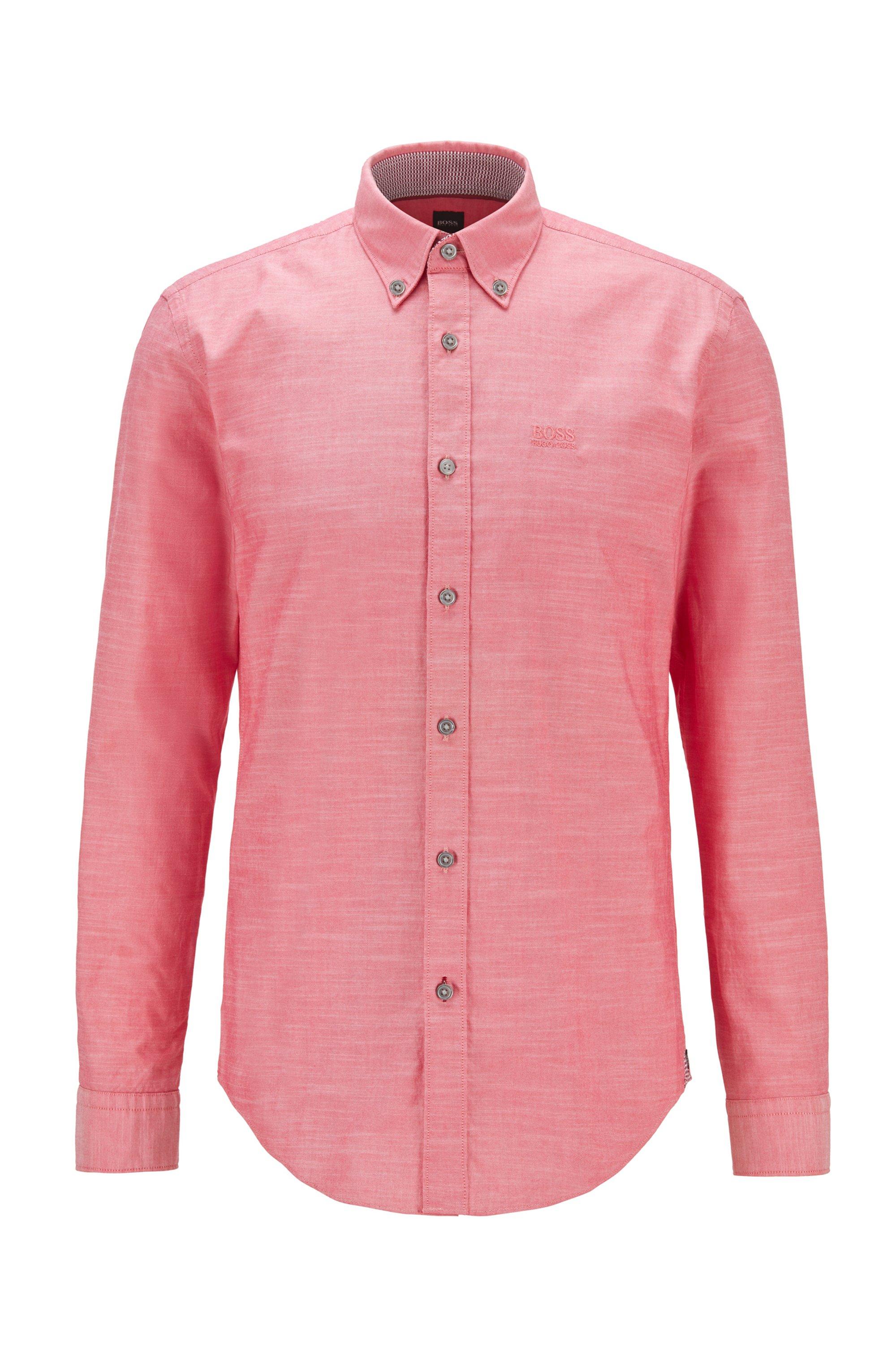 Camicia slim fit in cotone elasticizzato con logo ricamato, Rosso chiaro