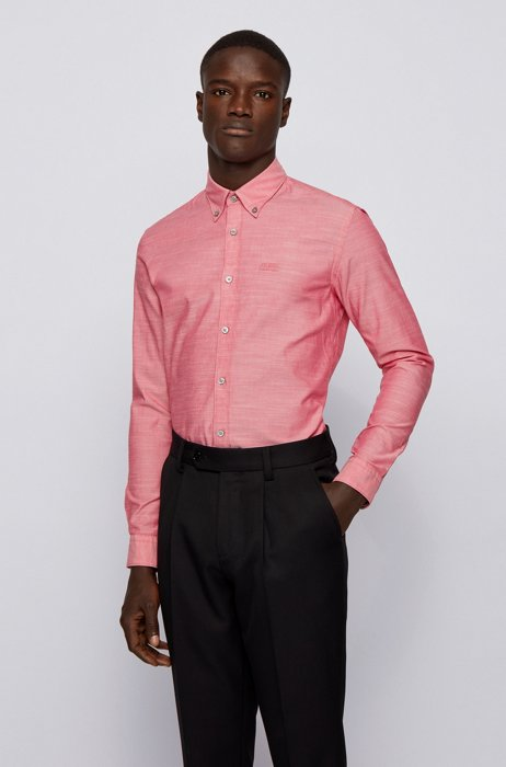 Slim-fit shirt in stretch cotton with logo embroidery, Light Red