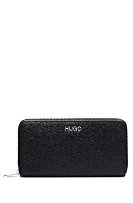 Zip-around wallet in grained leather with logo lettering, Black