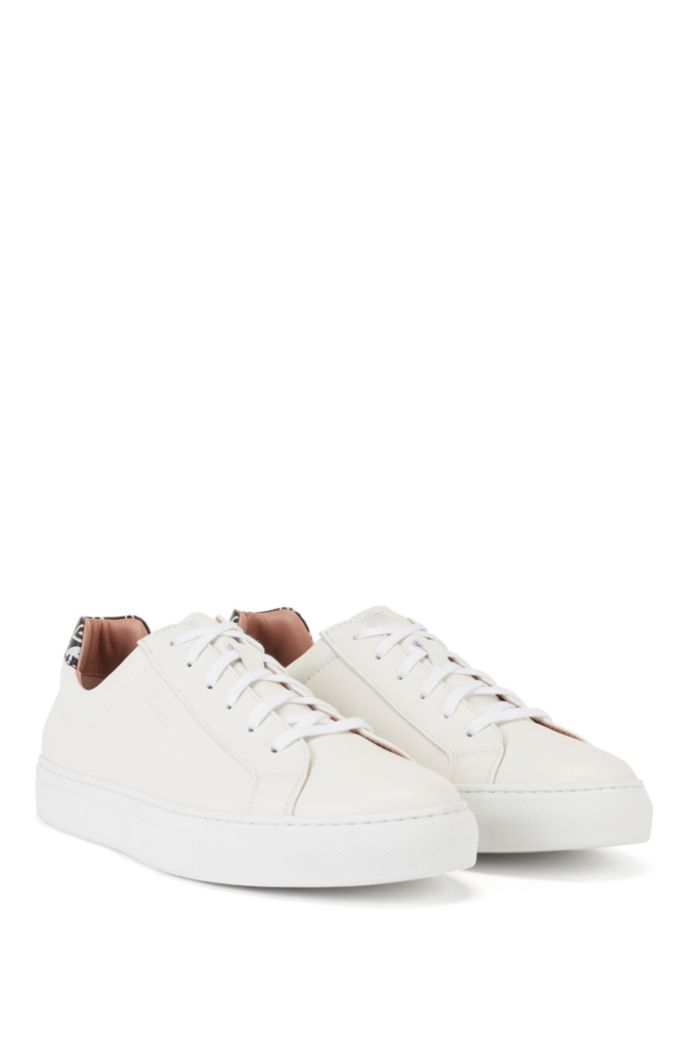 Italian-leather trainers with heart-print heel tab
