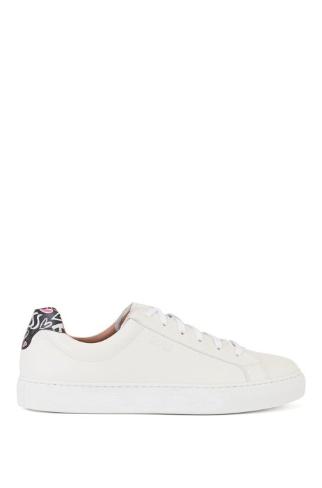 Italian-leather trainers with heart-print heel tab, White