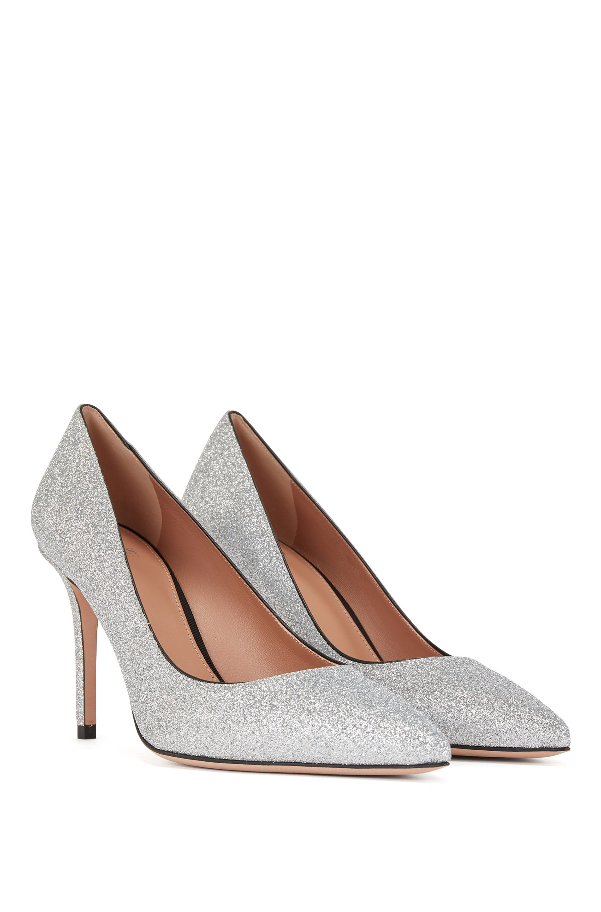 High-heeled pumps in glitter fabric with pointed toe