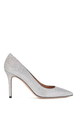 High-heeled pumps in glitter fabric with pointed toe, Silver