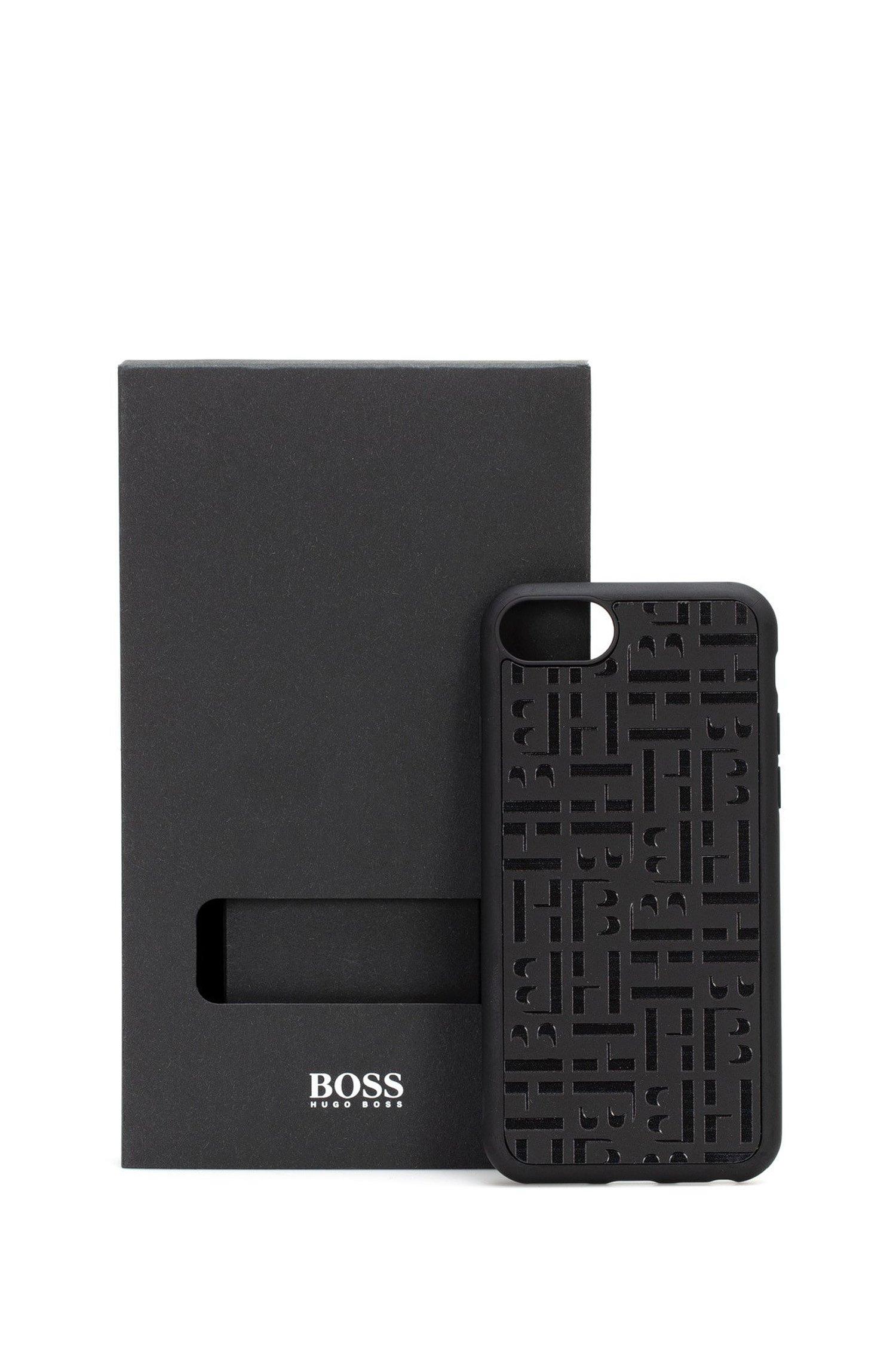 Coque pour iPhone à monogramme embossé, recouverte de cuir italien, Noir