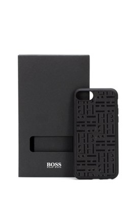 Monogram-embossed iPhone case covered in Italian leather, Black