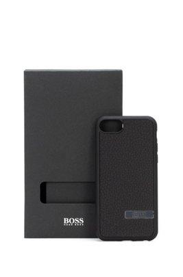 iPhone-Hülle aus italienischem Leder mit metallener Logo-Applikation, Schwarz