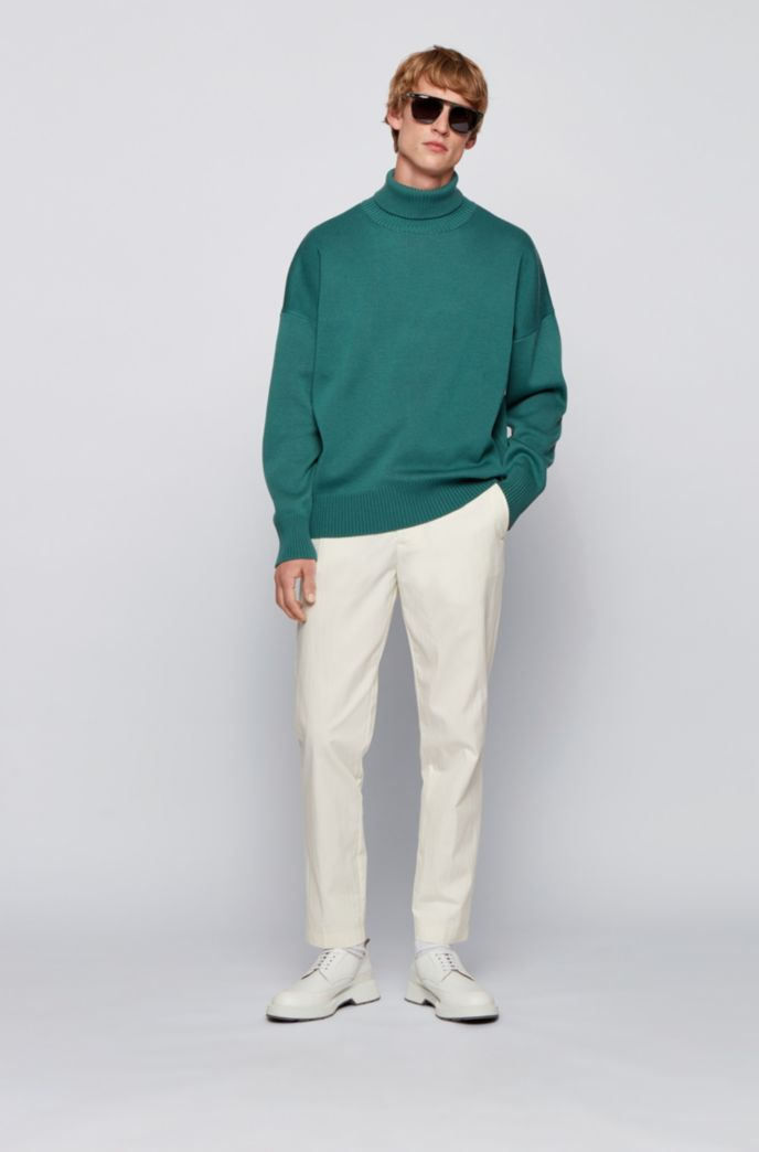 Relaxed-fit rollneck sweater in virgin wool