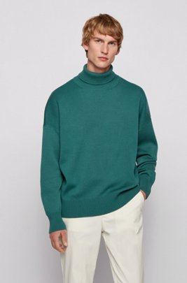 Relaxed-fit rollneck sweater in virgin wool, Light Green