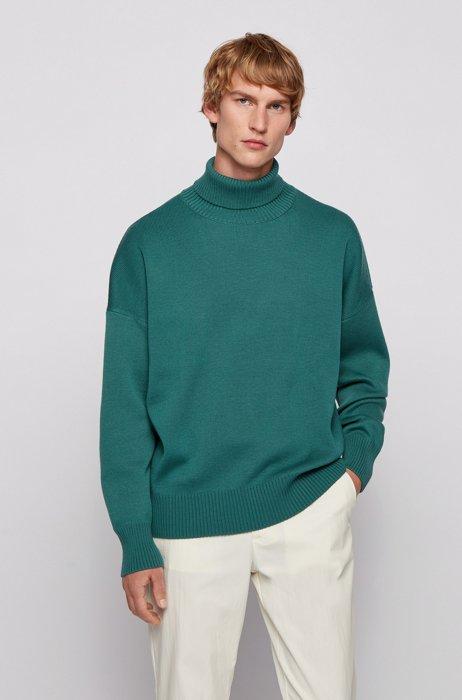 Relaxed-fit rollneck sweater in virgin wool, Light Green