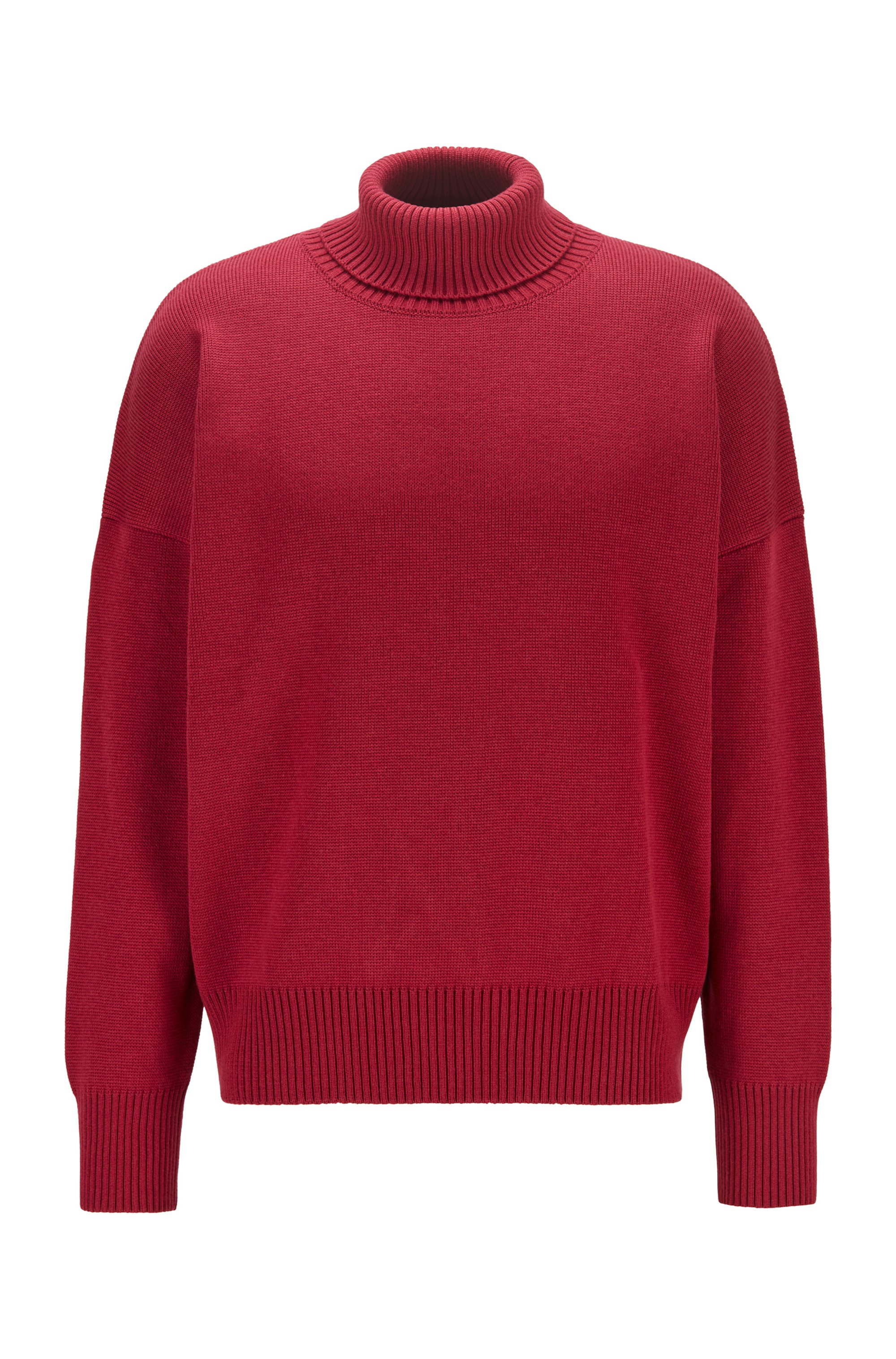 Pull col roulé Relaxed Fit en laine vierge, Rouge sombre