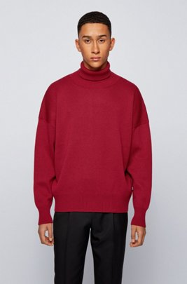 Relaxed-fit rollneck sweater in virgin wool, Dark Red