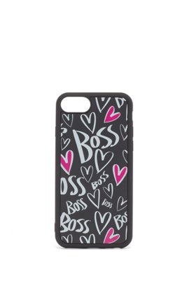iPhone case with printed hearts and logos, Black