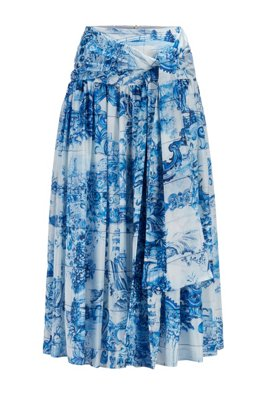 Printed-silk ruched skirt with tie detail, Patterned