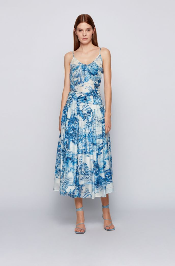 Printed-silk ruched skirt with tie detail