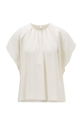 Gathered-neckline top in Italian satin-back crepe, White