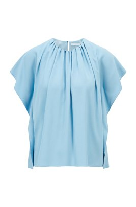 Gathered-neckline top in Italian satin-back crepe, Light Blue