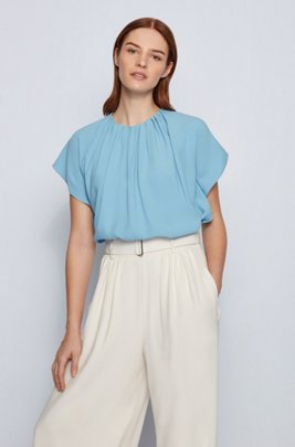 Gathered-neckline top in Italian satin-back crepe, Light Blue