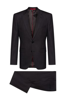 Regular-fit suit in patterned stretch wool, Dark Grey