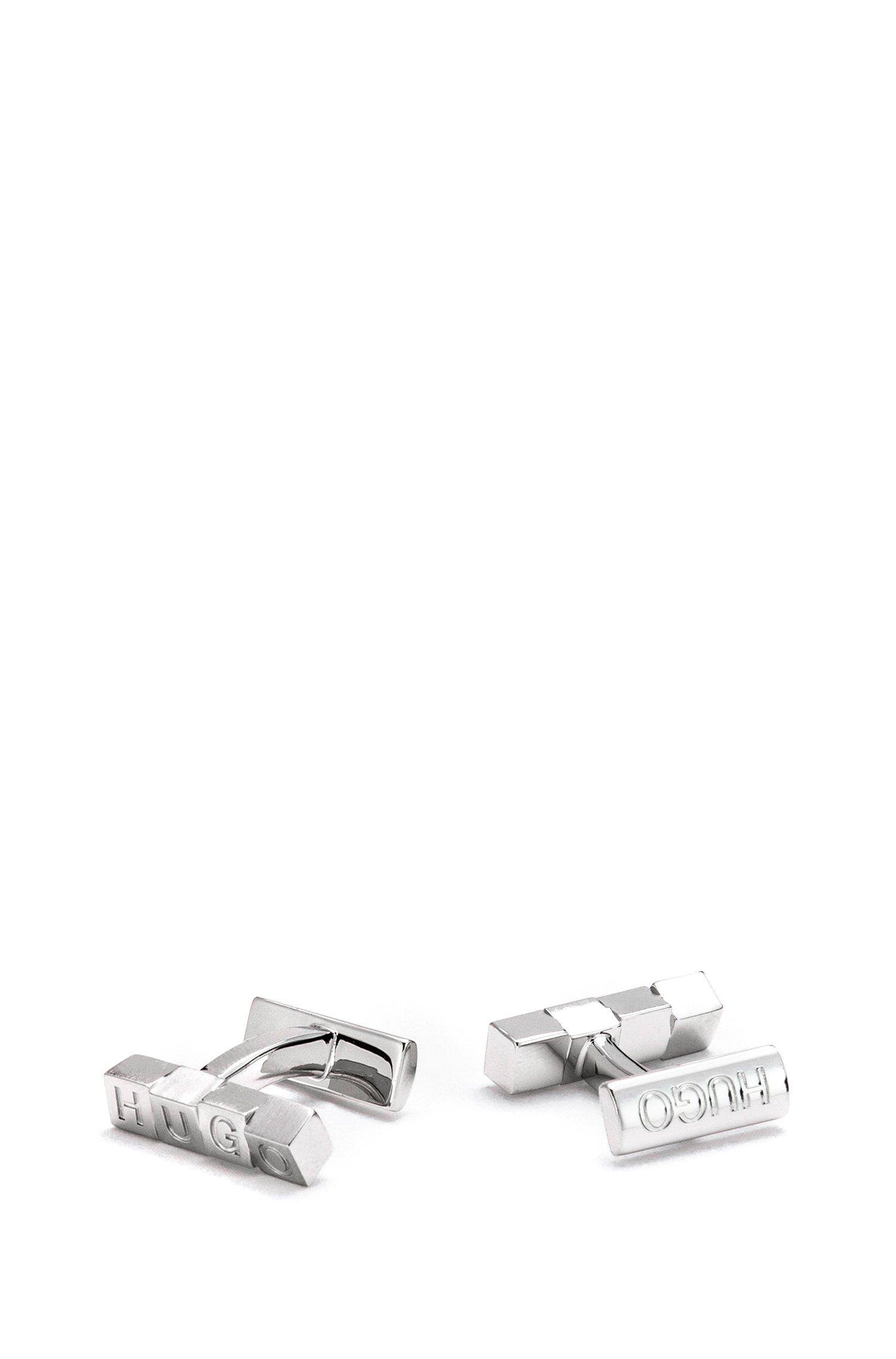 Logo cube cufflinks in brass, Silver