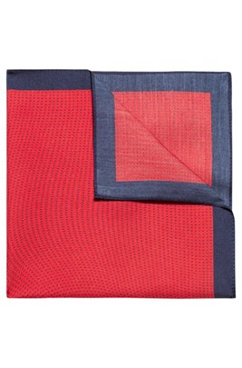 Twill pocket square with micro pattern and contrast border, light pink