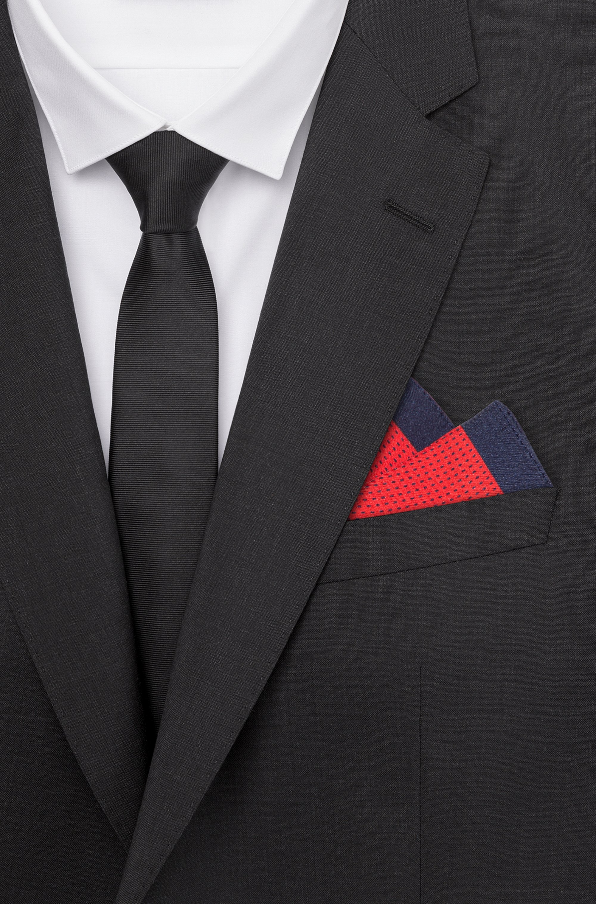 Twill pocket square with micro pattern and contrast border
