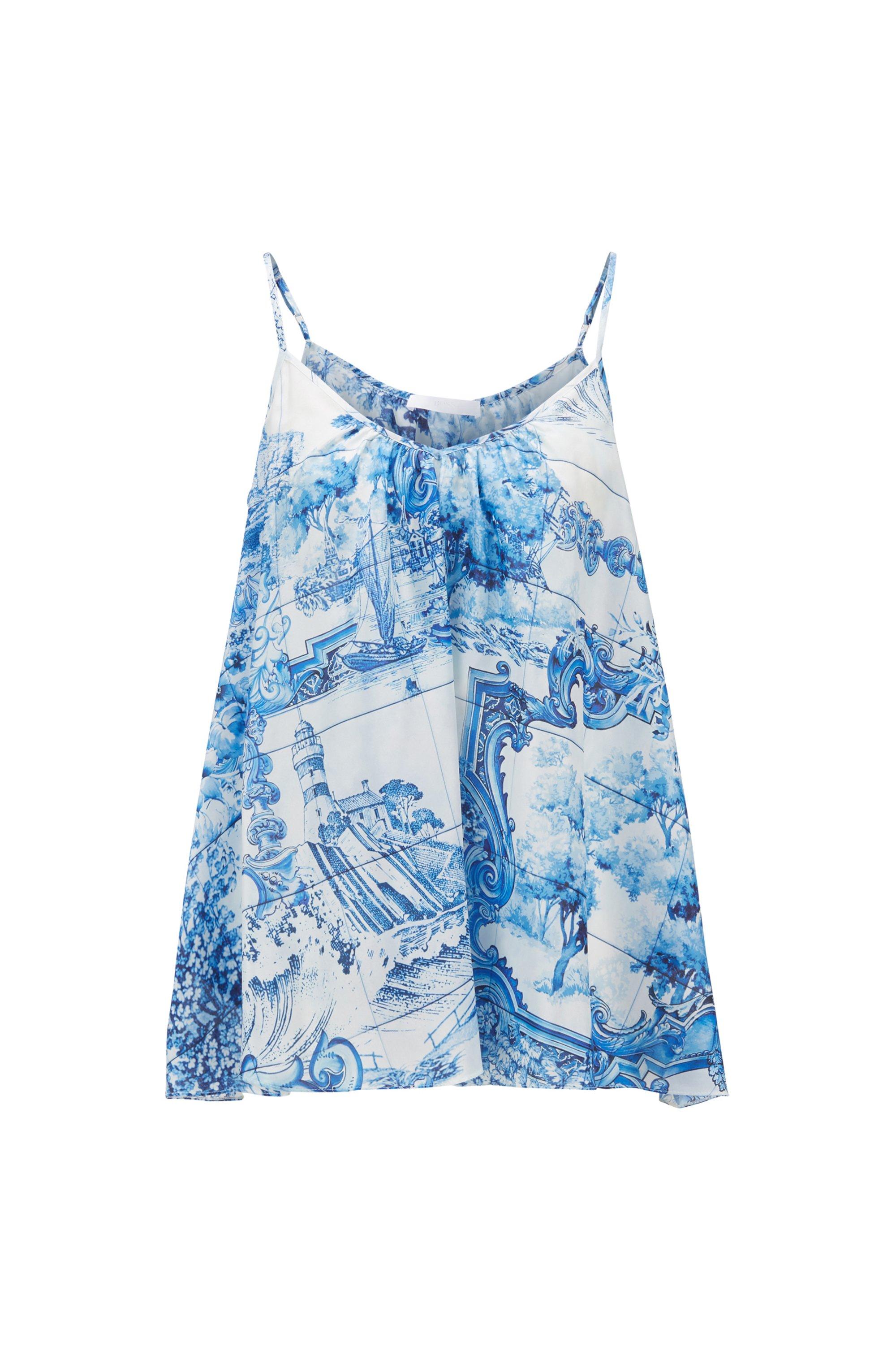 Ärmellose Bluse aus Seide mit Allover-Print, Gemustert