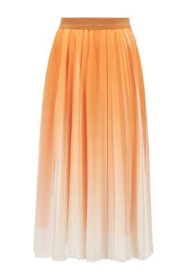 Chiffon plissé maxi skirt with dégradé overprint, Light Yellow