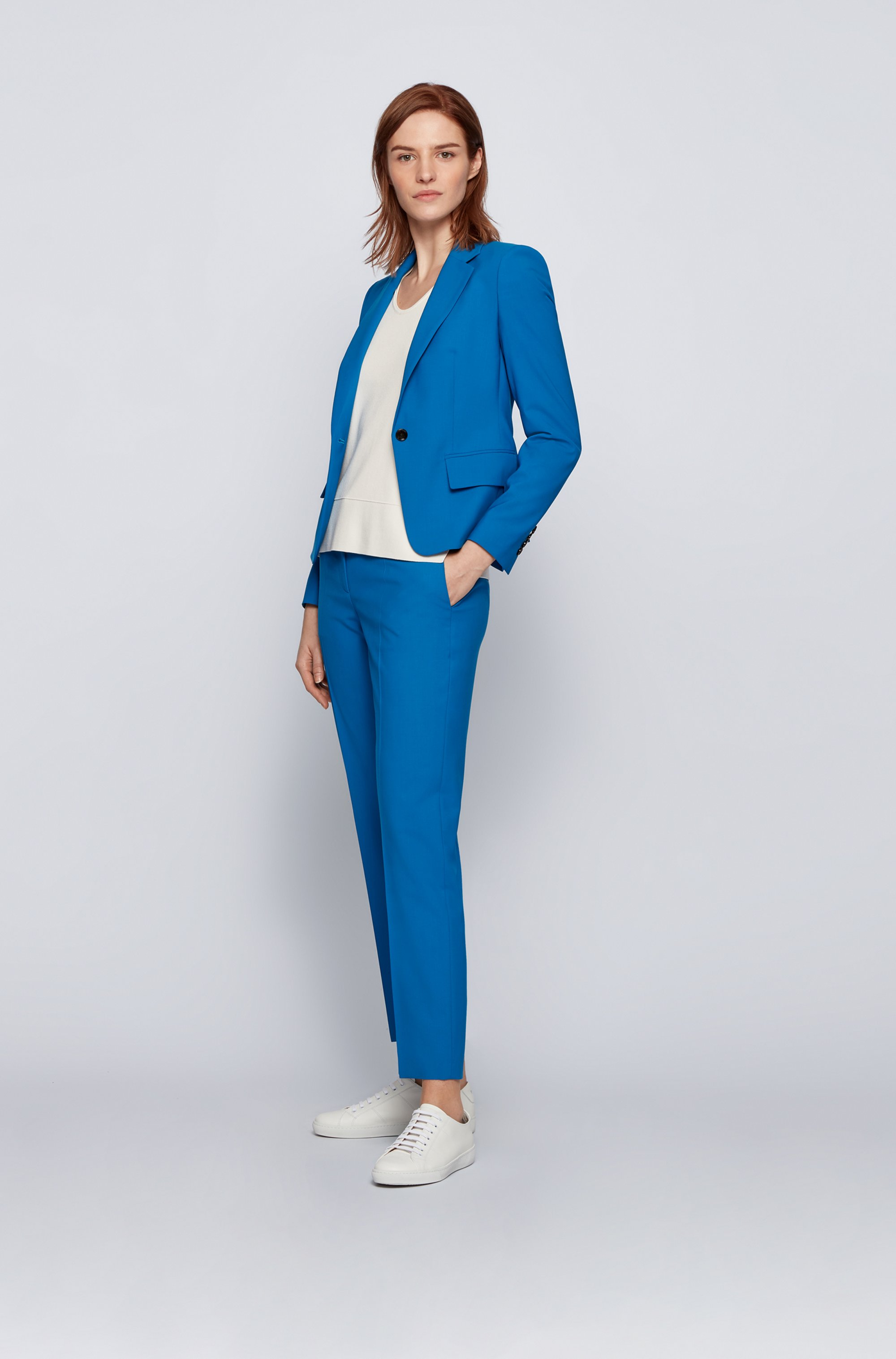 Regular-fit trousers in traceable virgin wool with stretch