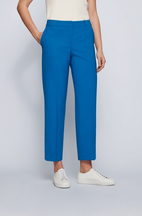 Regular-fit trousers in traceable virgin wool with stretch, Blue