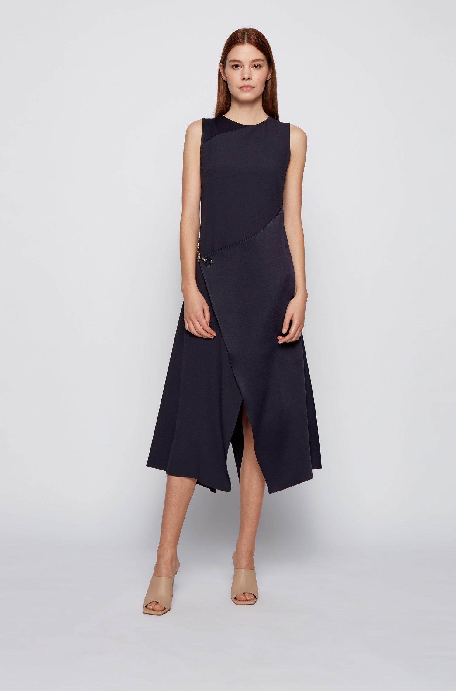 Sleeveless shift dress with asymmetric skirt and hardware trim, Light Blue