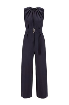 Wide-leg sleeveless jumpsuit in satin-back crepe, Light Blue