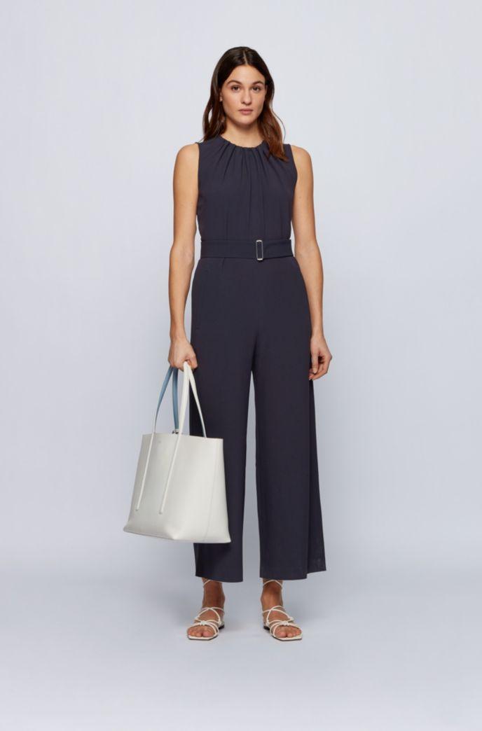 Wide-leg sleeveless jumpsuit in satin-back crepe