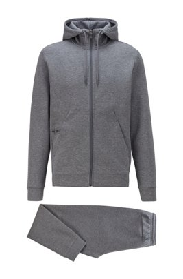 Sweatshirt and jogging trousers set in double-faced fabric, Grey