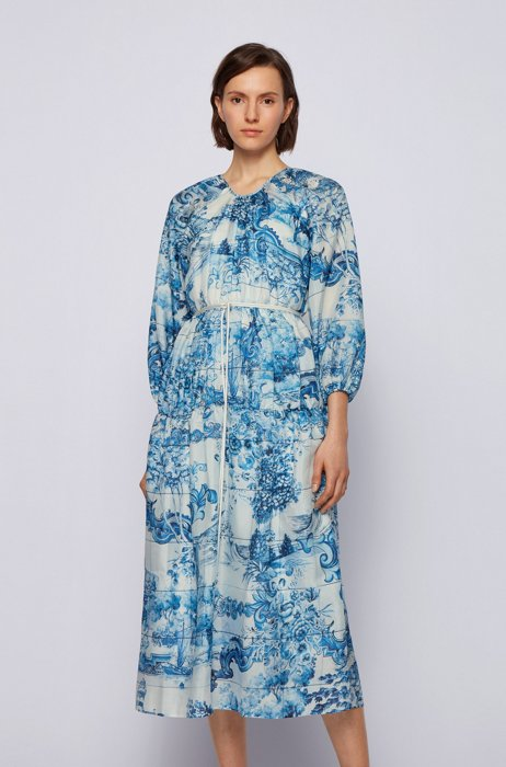 Silk dress with collection print and cord belt, Patterned