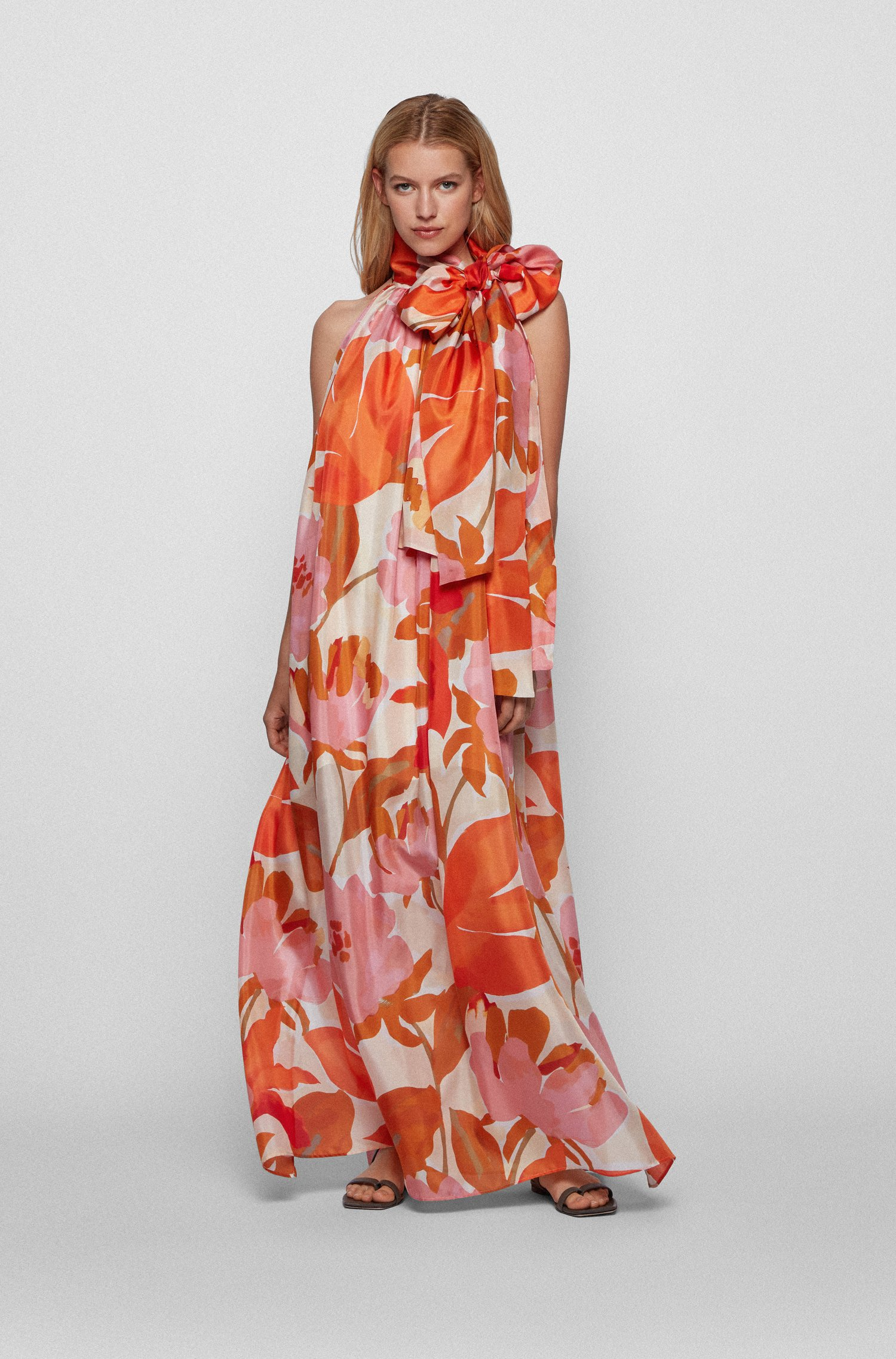Printed-silk maxi dress with tie neck, Patterned