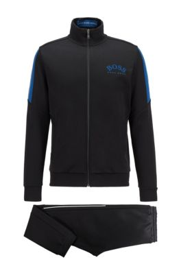 Regular-fit cotton-blend tracksuit with contrast accents, Black