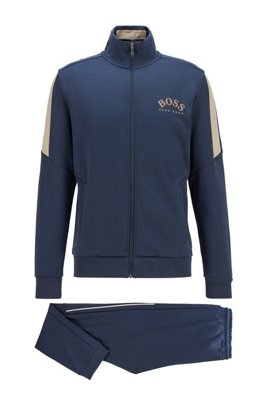 Regular-fit cotton-blend tracksuit with contrast accents, Dark Blue