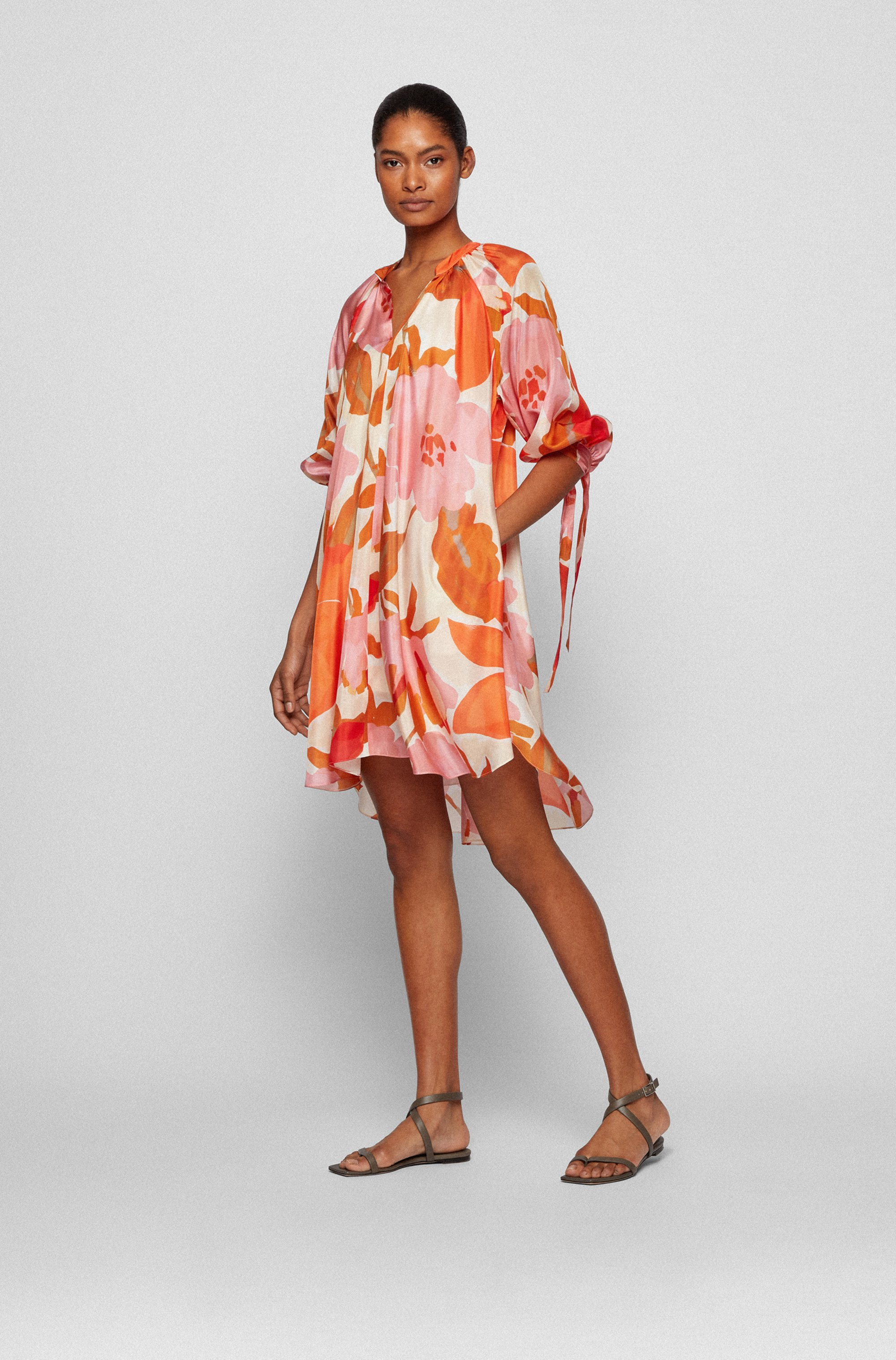 Silk dress with all-over print and stand collar