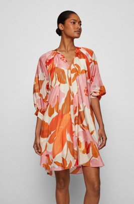 Silk dress with all-over print and stand collar, Patterned