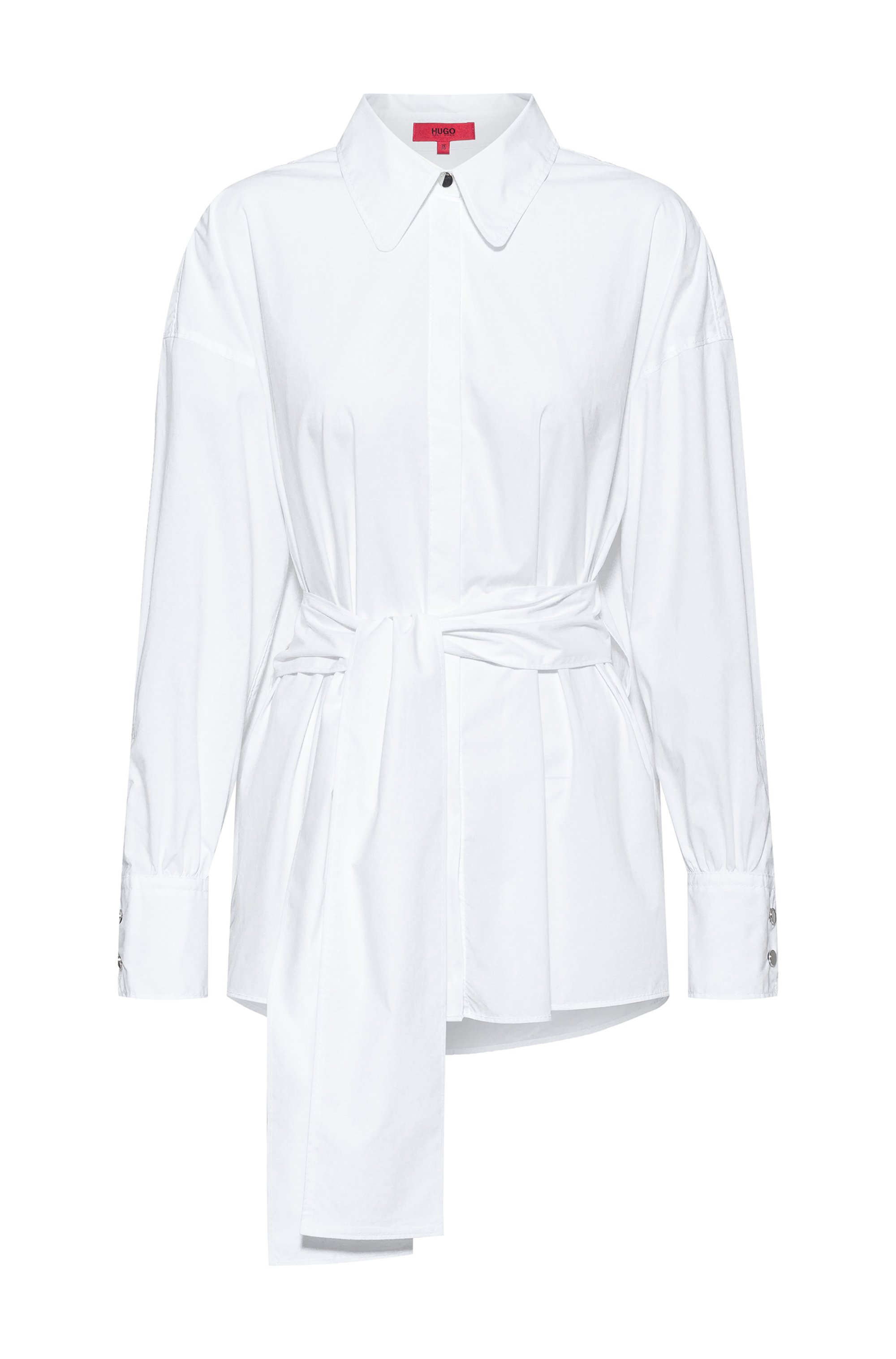 Oversized-fit blouse in stretch cotton with logo print, White
