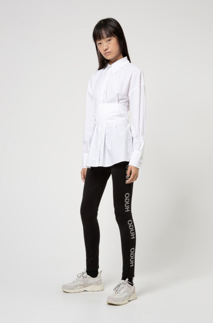 Oversized-fit blouse in stretch cotton with logo print