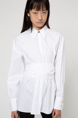 Chemisier Oversized Fit en coton stretch avec logo imprimé, Blanc