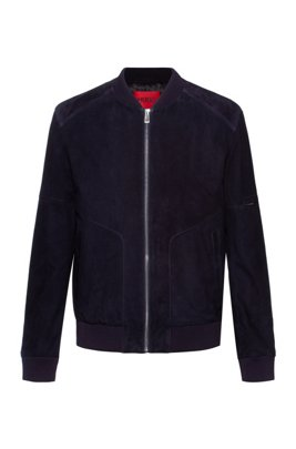 Slim-fit bomber jacket in suede with sleeve pocket, Dark Blue