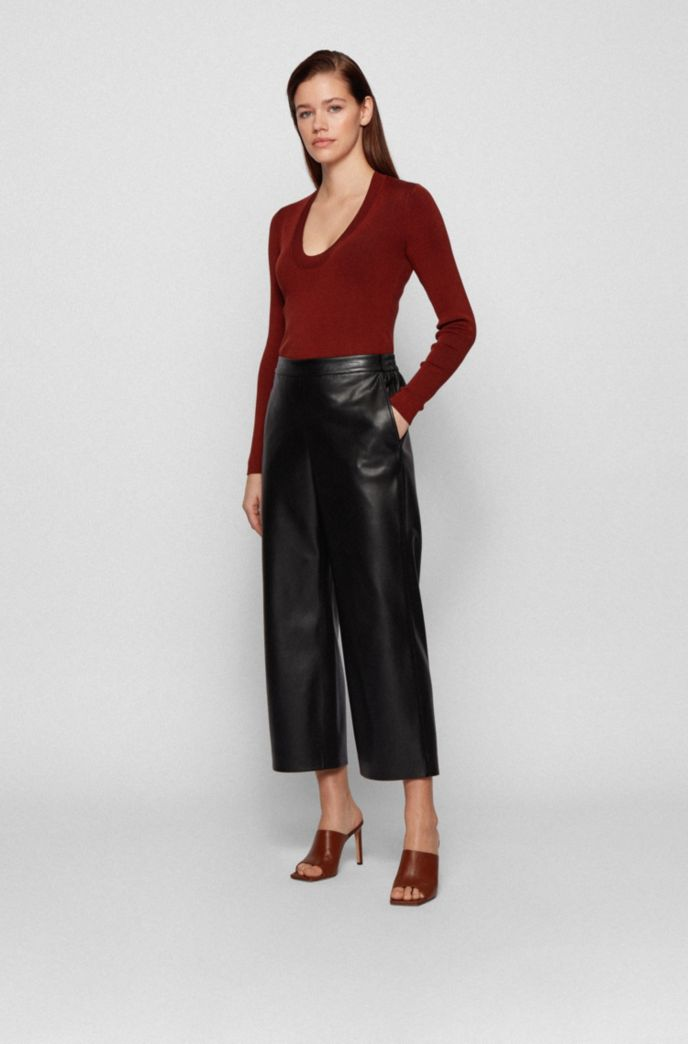 Cropped regular-fit trousers in coated faux leather