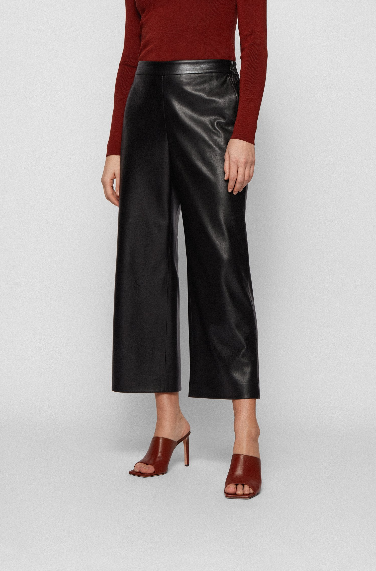 Cropped regular-fit trousers in coated faux leather, Black