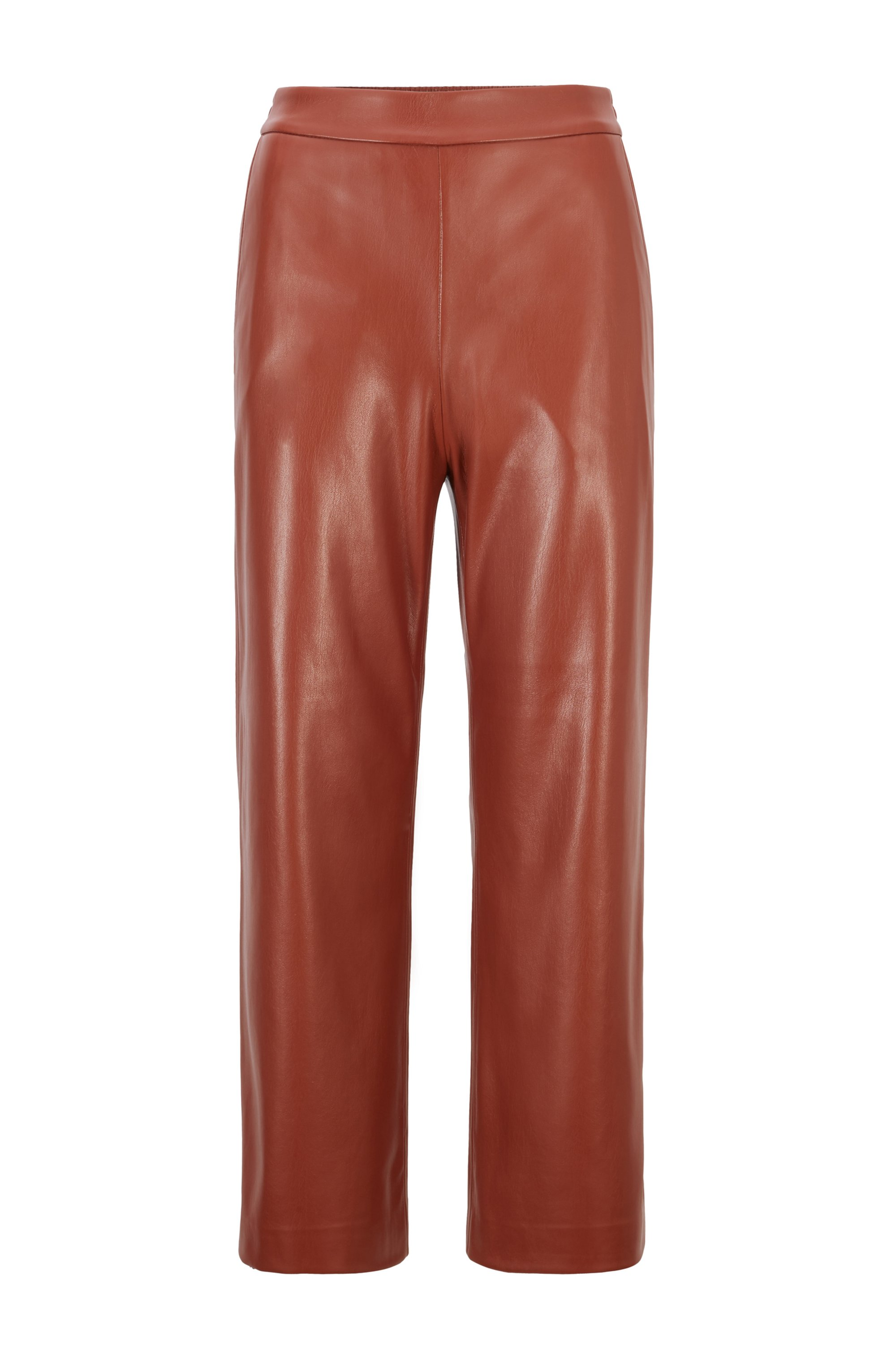 Cropped regular-fit trousers in coated faux leather, Brown