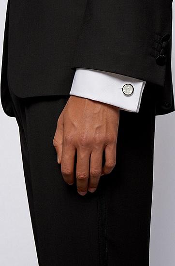 刻印珍珠母贝圆头袖扣 ,  100_白色