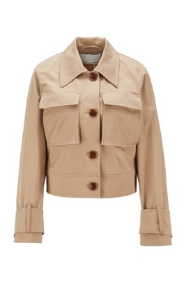 Cropped jacket with patched pockets in stretch organic cotton, Beige