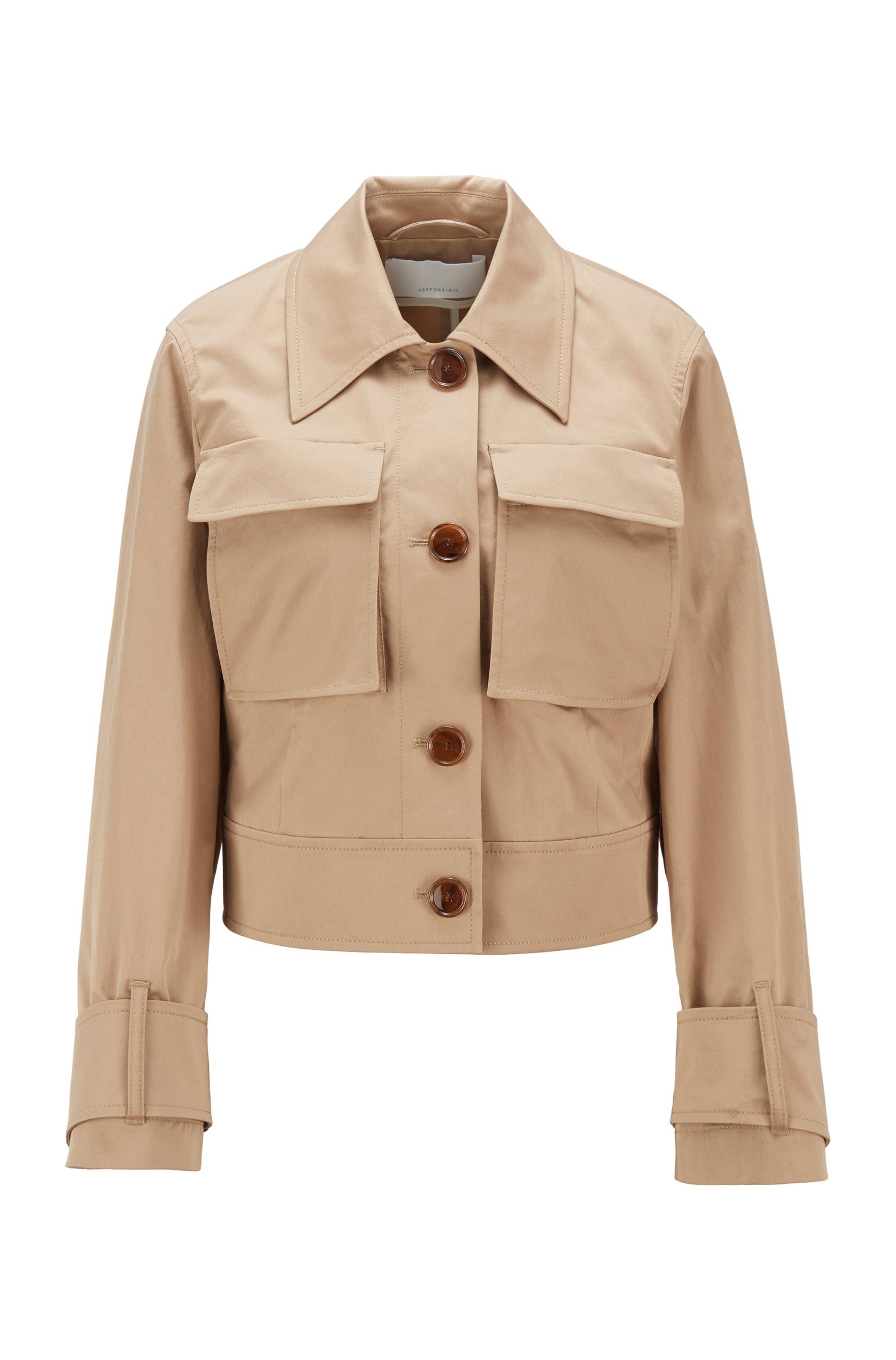 Veste courte en coton biologique stretch avec poches plaquées, Beige